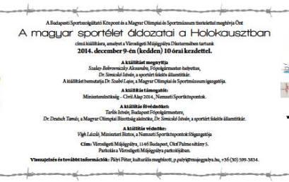 Kiállítás: A magyar sportélet áldozatai a Holokausztban