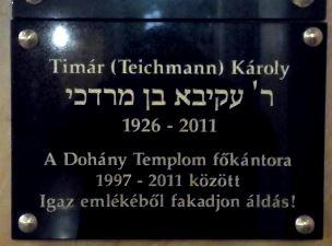 Felavatták Tímár Károly főkántor emléktábláját a Dohány zsinagógában