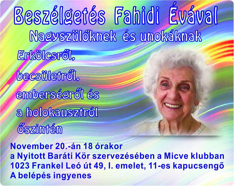 November végén Fahidi Évával beszélgethetnek a Frankel körzetben