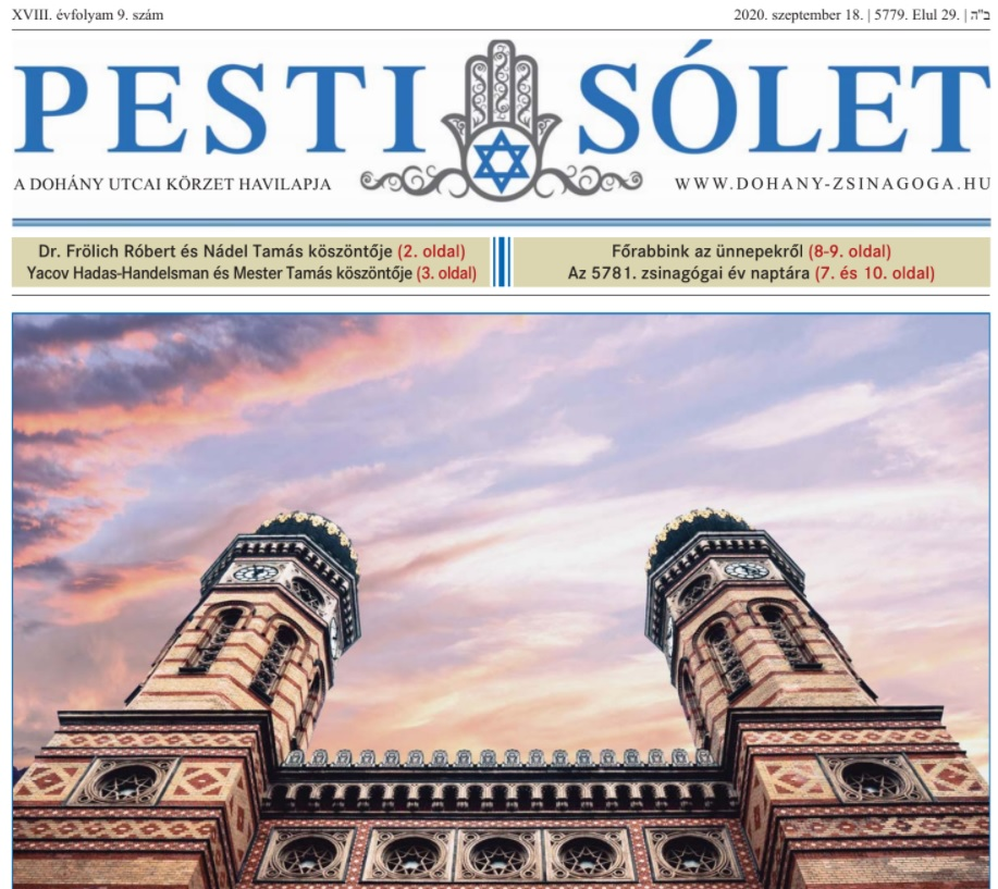 Elolvasható a Dohány zsinagóga újságjának legfrissebb száma oldalunkon