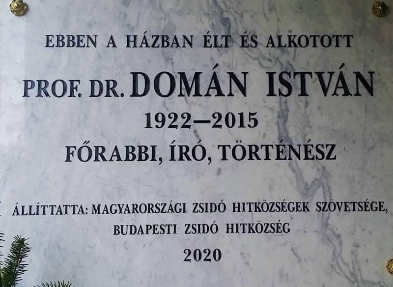 Emléktáblát avattunk dr.Domán István főrabbi emlékére